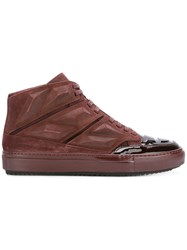 Alejandro Ingelmo Panelled Hi Tops Leather Calf Suede Rubber Lacquer Red