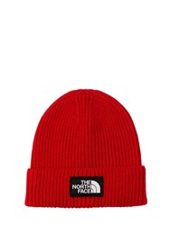 The North Face Logo Rib Knit Beanie Hat Red