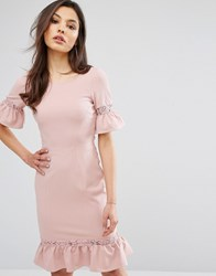 Paper Dolls Dress With Peplum Hem And Lace Inserts Rose Pink
