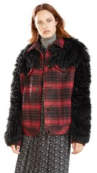 Coach 1941 Wool Shearling Trucker Jacket Red Black