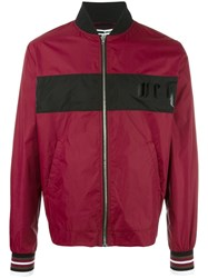 Mcq By Alexander Mcqueen Contrast Stripe Bomber Jacket Red