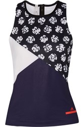 Adidas By Stella Mccartney Printed Climalite Stretch Tank Midnight Blue