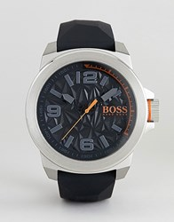 Boss Orange Leather Strap Watch In Black