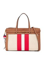 Tory Burch Striped Canvas Satchel Natural New Ivory Nut