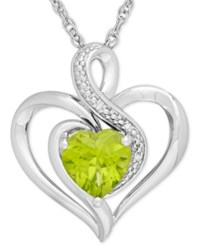 Macy's Peridot 1 1 3 Ct. T.W. And Diamond Accent Heart Pendant Necklace In Sterling Silver Green