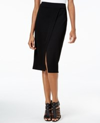 Kensie Faux Wrap Ponte Pencil Skirt Black
