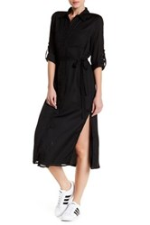 Lucca Couture Button Up Shirt Dress Black