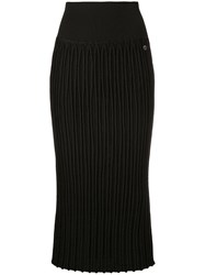 Chanel Vintage Ribbed Fitted Midi Skirt Black