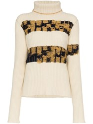 Calvin Klein 205W39nyc Embroidered Lambswool Turtleneck Jumper White