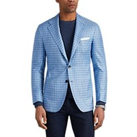 Kiton Kb Checked Cashmere Blend Two Button Sportcoat Light Pastel Blue