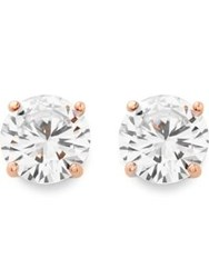 Cz By Kenneth Jay Lane Cubic Zirconia Stud Earrings Rose Gold Plated