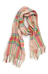 Topshop Check Scarf Pink Multi