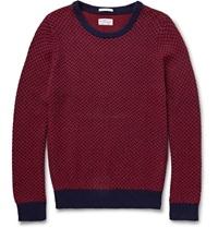 Gant Two Tone Cotton Blend Jacquard Sweater Red