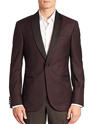 Jack Victor Modern Diamond Print Shawl Collar Tuxedo Jacket Burgundy