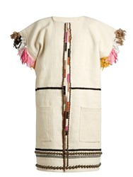 Apiece Apart Nazca Embellished Cotton And Wool Blend Coat Cream Multi