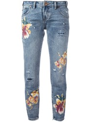 One Teaspoon Orchid Print Distressed Cropped Jeans Blue