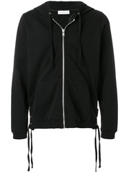 Faith Connexion Lace Up Side Detail Zipped Front Hoodie Black