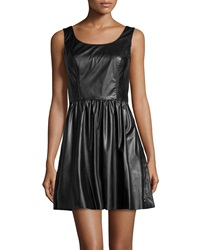 Vakko Faux Leather A Line Dress Black