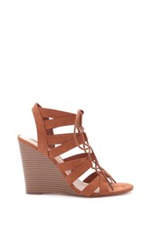 Forever 21 Lace Up Faux Suede Wedges Tan