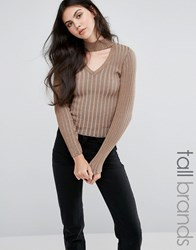 Missguided Tall Neck Tab Skinny Rib Jumper Mocha Brown