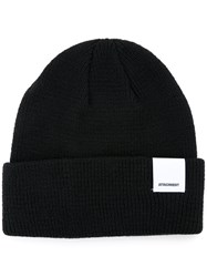 Attachment Folded Knitted Beanie Men Cotton One Size Black
