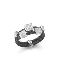 Alor Black Stainless Steel Cable And Square Diamond Ring