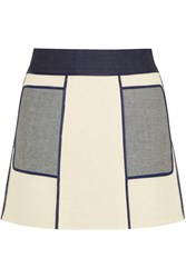 Victoria Beckham Paneled Denim And Boucle Mini Skirt White