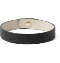 Valextra Pebble Grain Leather Bracelet Black