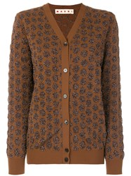 Marni Textured Dot Pattern Cardigan Polyamide Polyester Cupro Brown