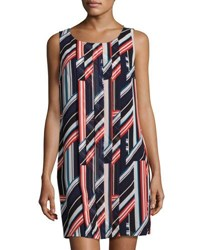 1.State Striped Pintuck Shift Dress Navy