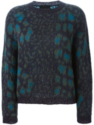 Erika Cavallini Semi Couture Crew Neck Knit Sweater Blue