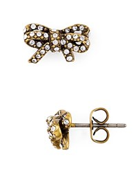 Marc Jacobs Pave Twisted Bow Stud Earrings Gold