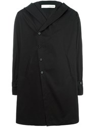 Isabel Benenato Hooded Coat Black