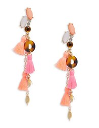 Rj Graziano Cluster Stone And Tassel Accented Drop Earrings