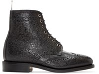 Thom Browne Black Leather Wingtip Boots