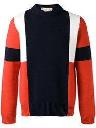 Marni Colour Block Knitted Jumper Red