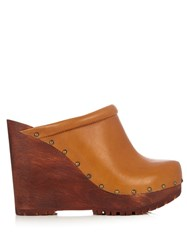 See By Chloe Clive Leather Wedge Clogs Light Tan
