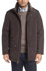 Cole Haan Men's Faux Fur Lined Water Resistant Parka Brown