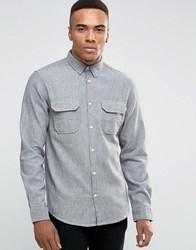 New Look Shirt With Long Sleeves And Grandad Collar In Regular Fit Light Grey