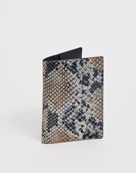 French Connection Leather Passport Card Holder In Snake Multi