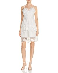 Aqua Lace Trim V Neck Tiered Dress White
