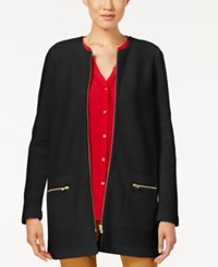 Charter Club Wool Zip Front Duster Cardigan Only At Macy's Deep Black