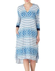 Ellen Tracy Printed Long Tunic Nightgown Blue