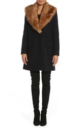 Belle Badgley Mischka Women's 'Holly' Faux Fur Collar Boucle Coat Navy