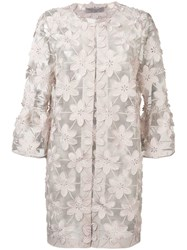 D.Exterior Sheer Floral Embroidered Coat Neutrals
