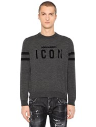 Dsquared Icon Flocked Wool Knit Sweater Grey Black