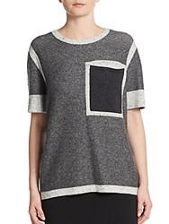 Derek Lam Two Tone Marled Knit Pullover Grey Combo