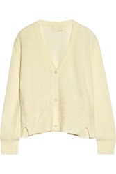 Band Of Outsiders Lace Appliqued Wool Blend Cardigan White