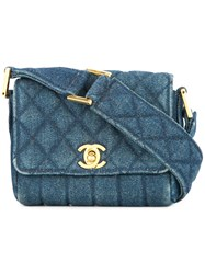 Chanel Vintage Cc Logo Mini Denim Shoulder Bag Blue