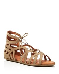 Gentle Souls Flat Caged Lace Up Sandals Break My Heart Charcoal